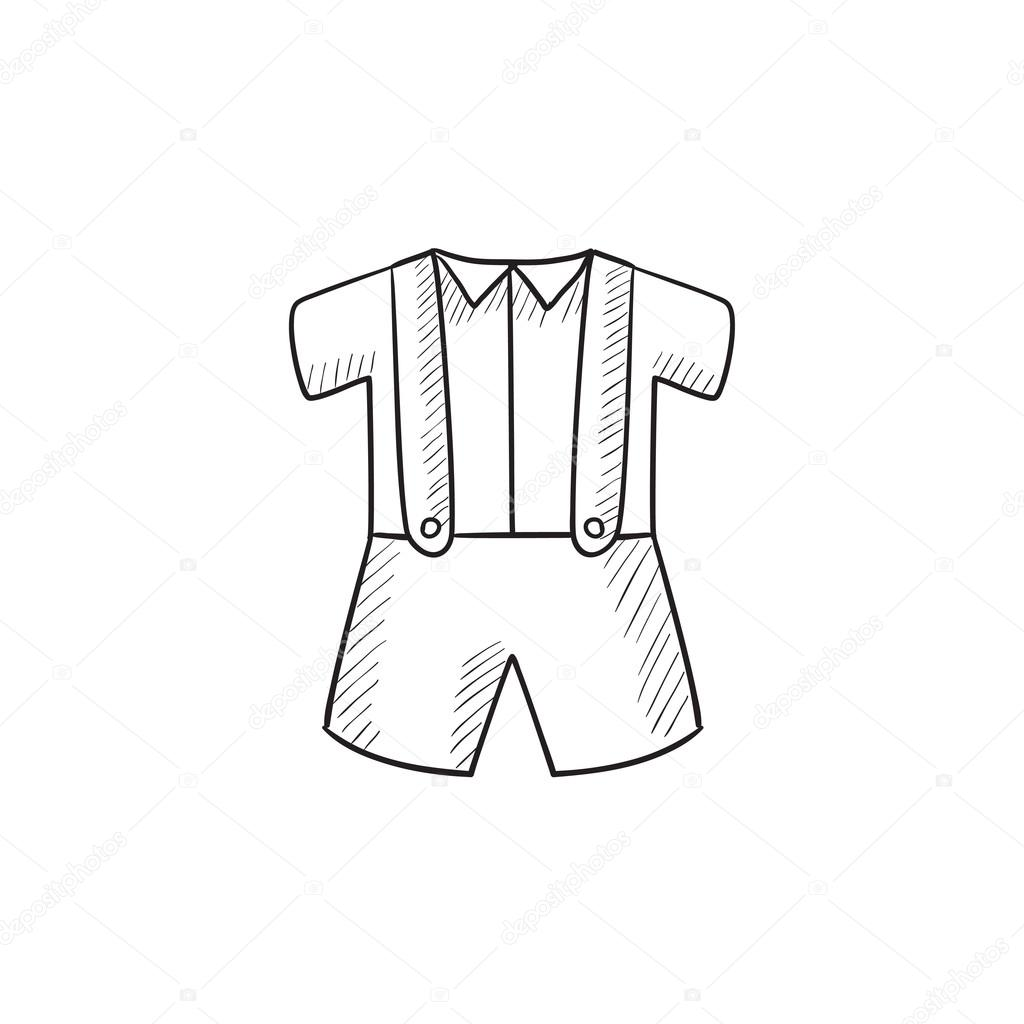1024x1024 Baby Shirt And Shorts With Suspenders Sketch Icon. Stock Vector