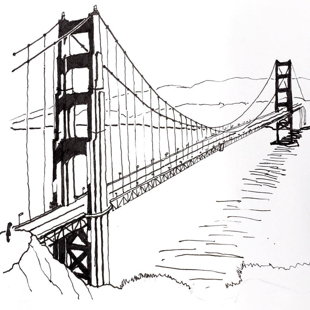 Suspension Bridge Drawing