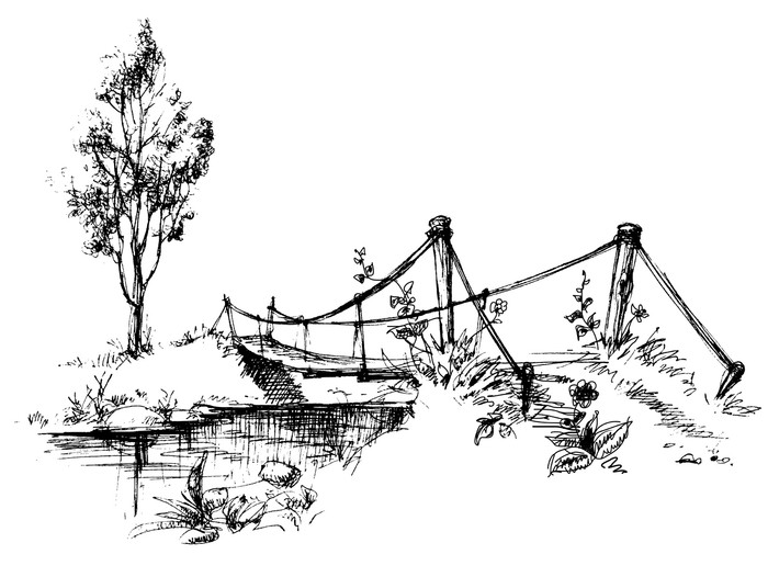 700x526 Landscape With Suspended Bridge Over River Sketch Sticker Pixers