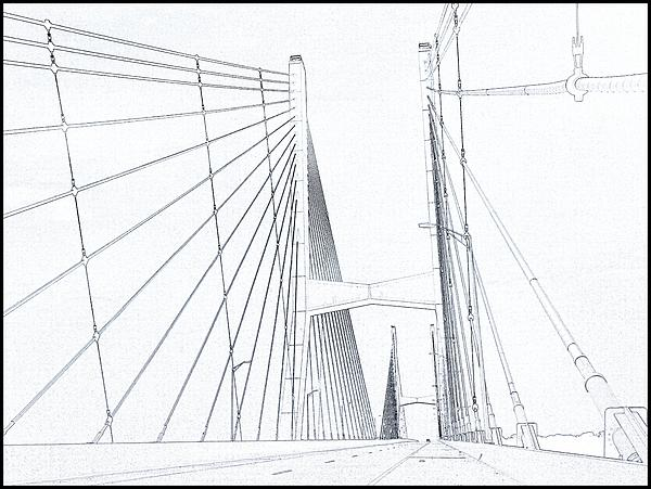 600x451 Suspension Bridge Sketch Beach Sheet For Sale By Dan Sproul