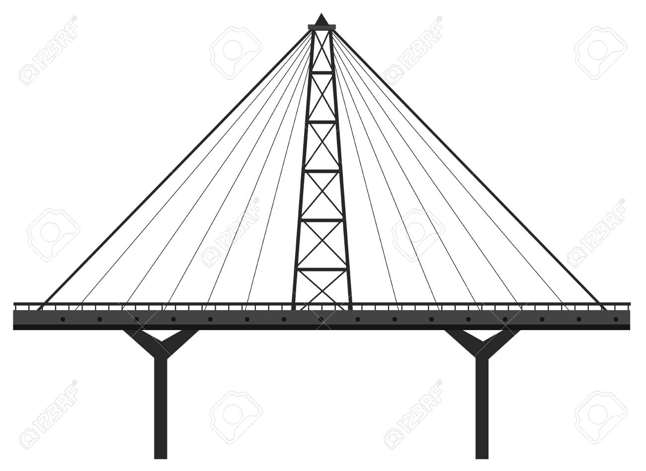1300x949 Bridge Construction Made Of Metal Illustration Royalty Free