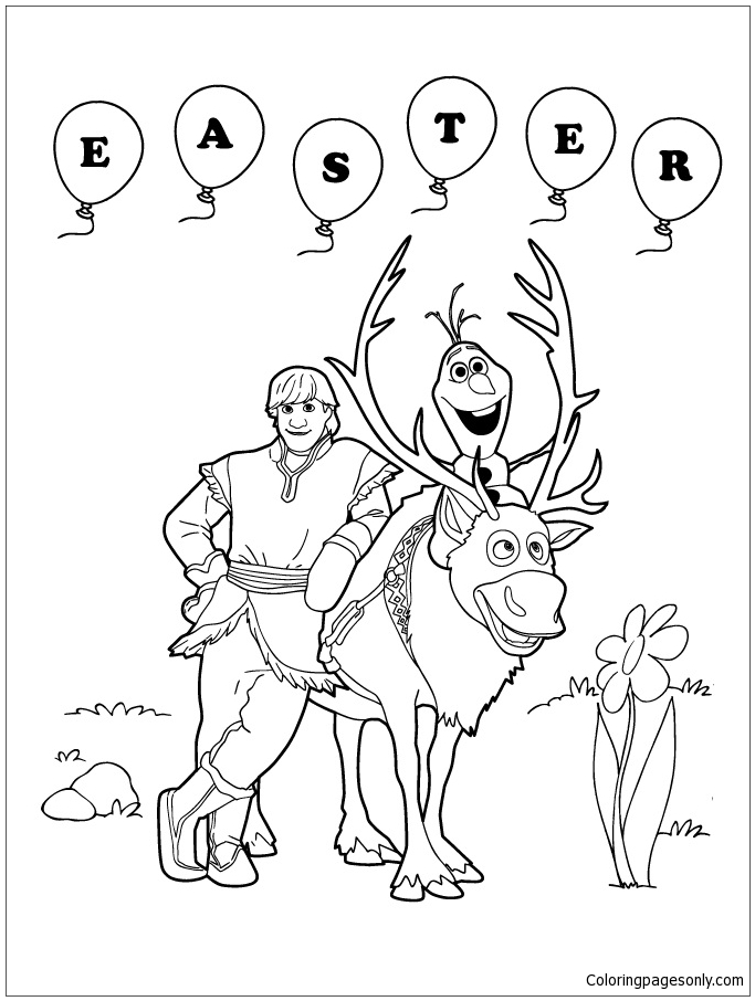 683x906 Frozen Sven Olaf And Kristoff Easter Coloring Page