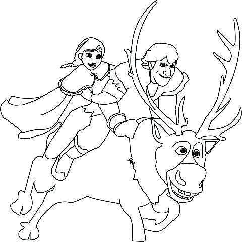 480x480 Sven Coloring Pages Frozen For Kids