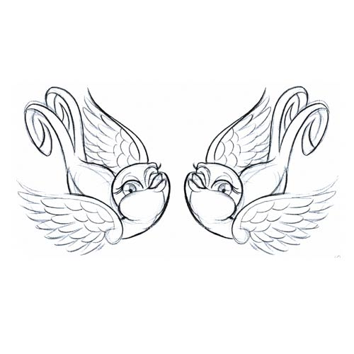 500x500 Collection Of Swallow Birds Love Banner Tattoo Design