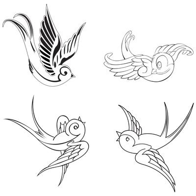 400x400 Gorgeous Swallow Birds Tattoo Design