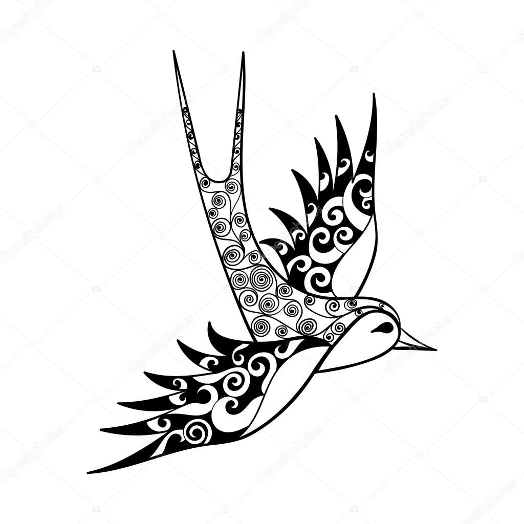 1024x1024 Hand Drawn Tribal Swallow, Bird Totem For Adult Coloring Page