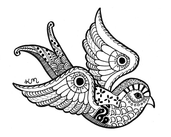 570x456 Swallow Ink Drawing Print Abstract Tribal Aztec