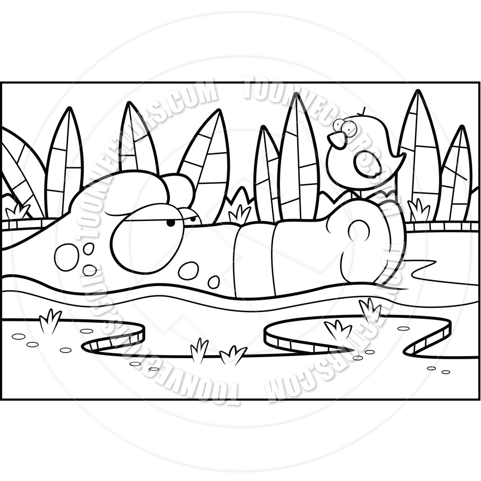 940x940 Alligator Swamp (Black And White Line Art) By Cory Thoman Toon
