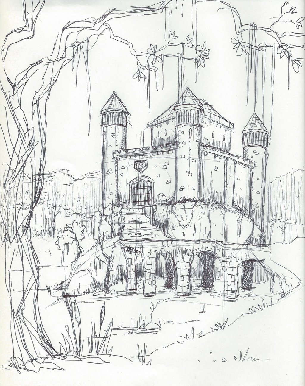 1024x1296 Castle In The Swamp, Ink Sketch By Emeryjs