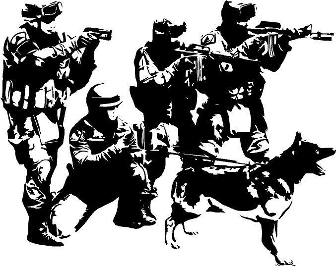 677x537 C099 Swat Team Military Army Soldiers Dogs Removeable Vinyl Wall