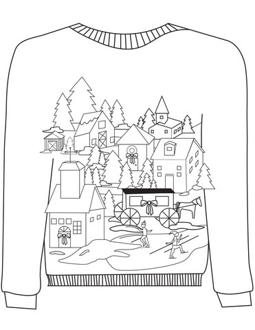 371x480 Christmas Ugly Sweater With A Village Motif Coloring Page Free