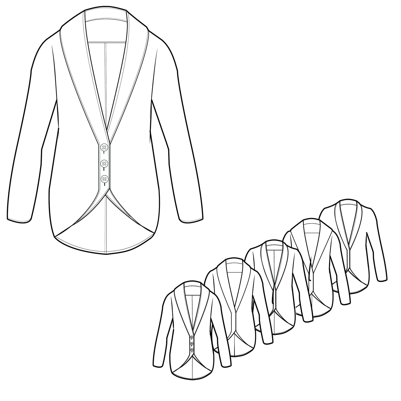 2480x2480 Mens Lapel Knit Sweater Technical Drawings Detile