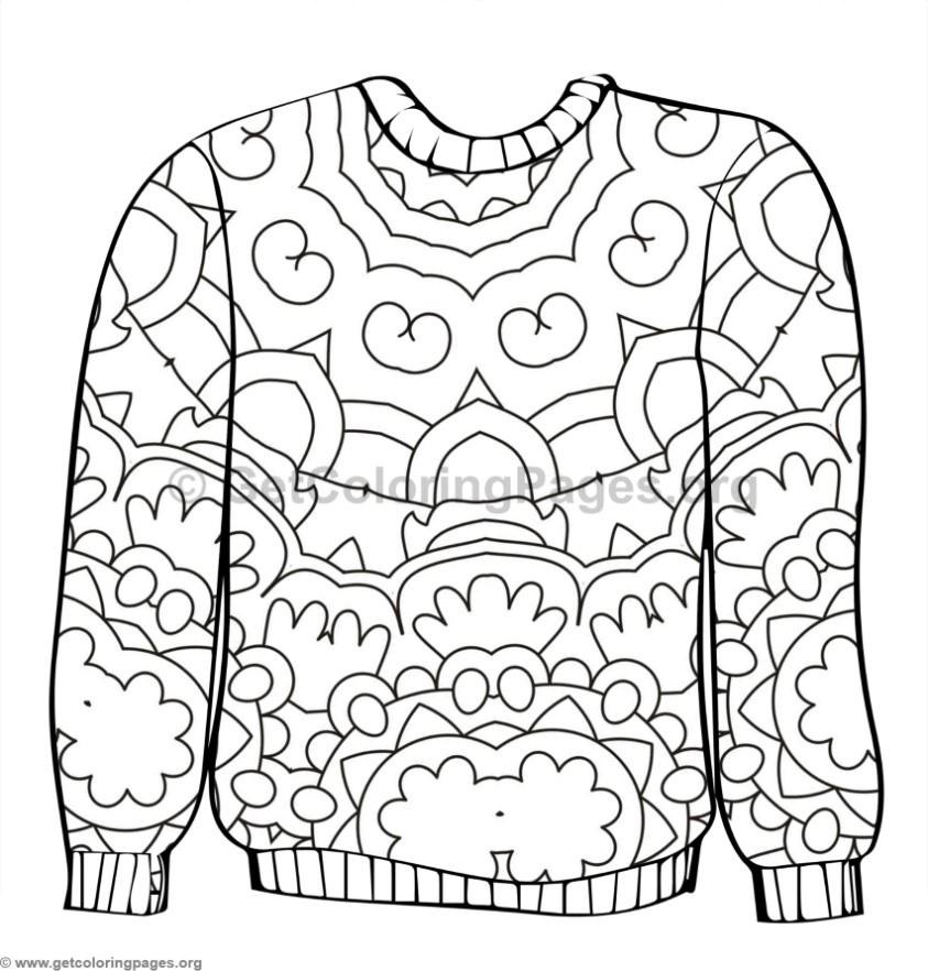 843x882 Ugly Sweater Coloring Pages