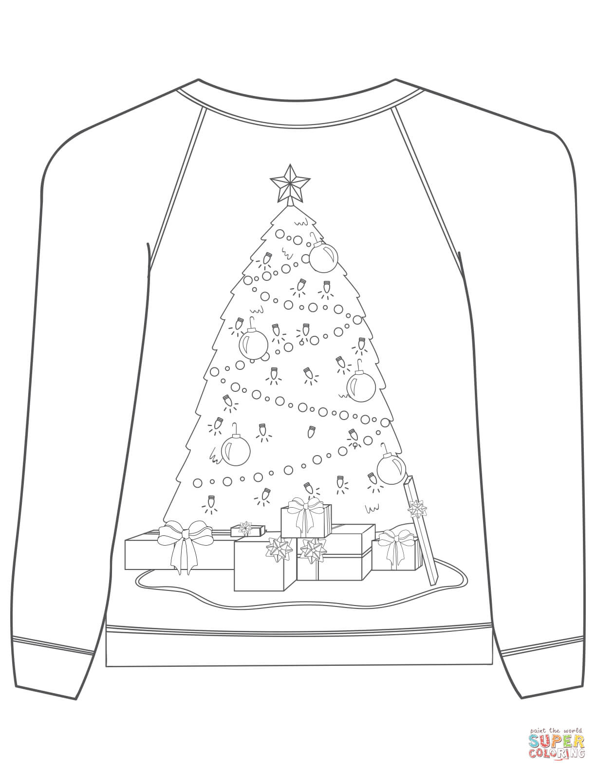 1224x1584 Christmas Ugly Sweater With Christmas Tree Motif Coloring Page