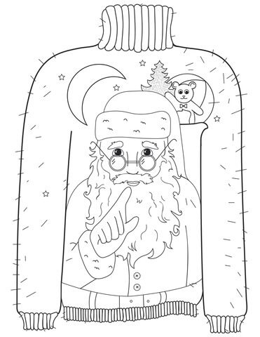 371x480 Christmas Ugly Sweater With Whispering Santa Motif Coloring Page