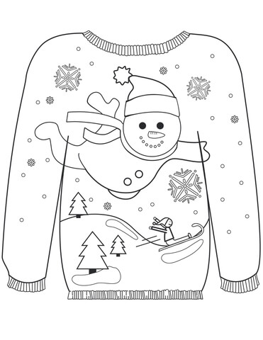 371x480 Christmas Ugly Sweater With A Snowman Motif Coloring Page Free