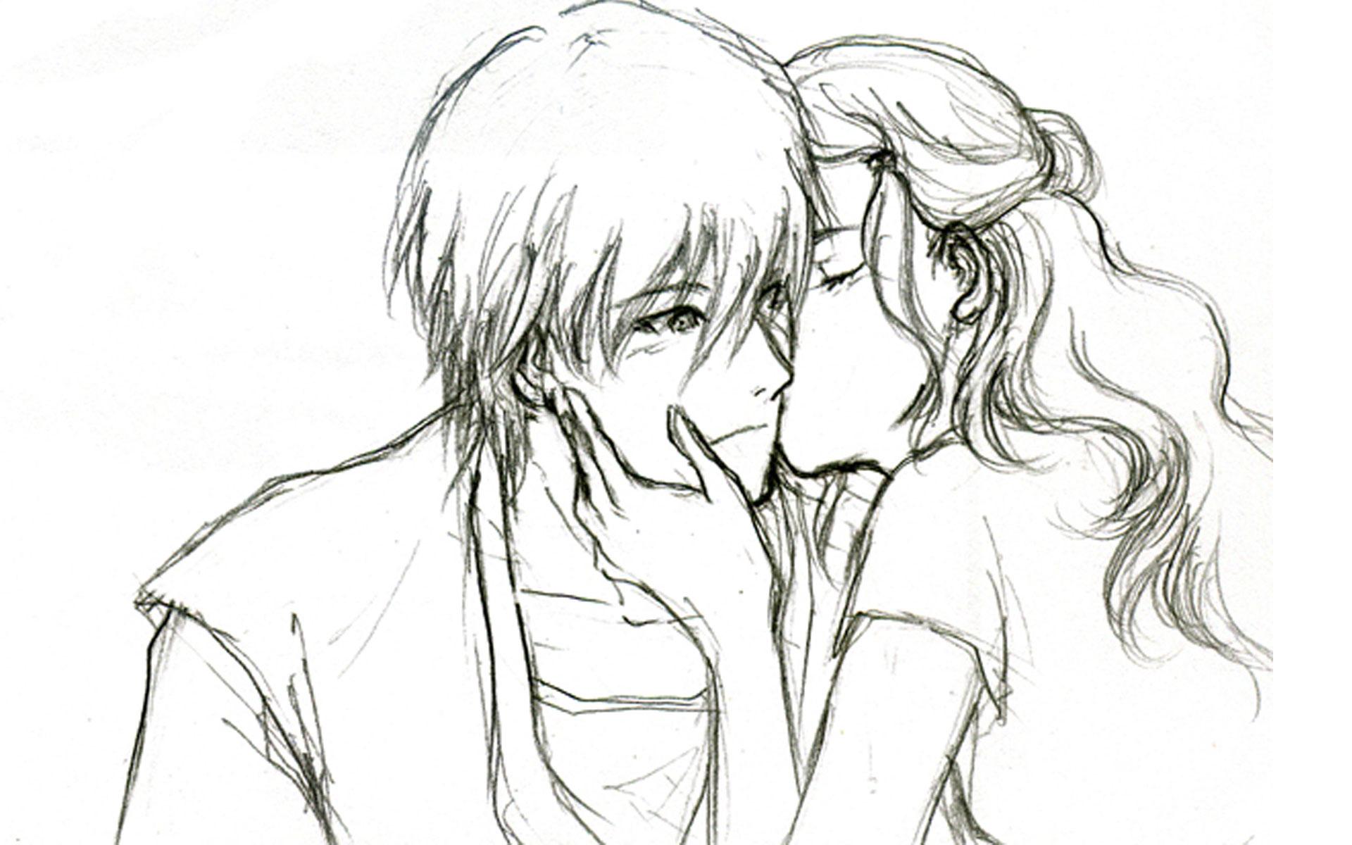 1920x1200 anime cute couple pencil sketch romantic anime couples kissing