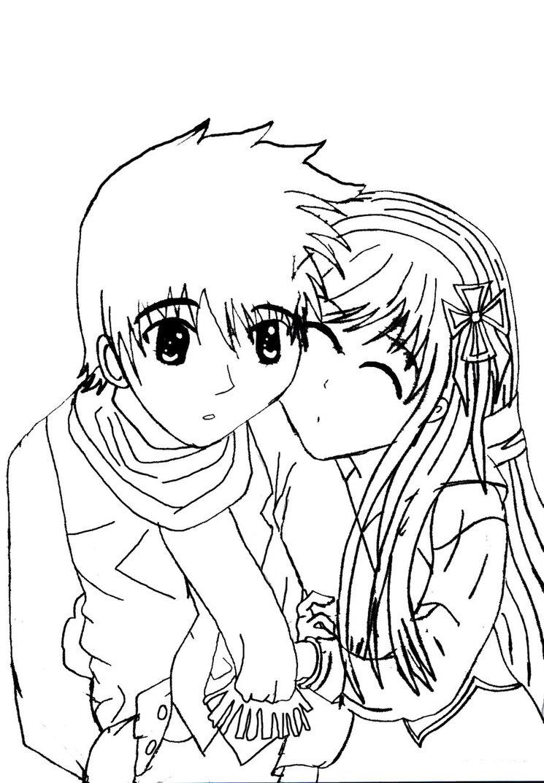 745x1073 Sweet Anime Couple Outlined By X Xanimenerdx X