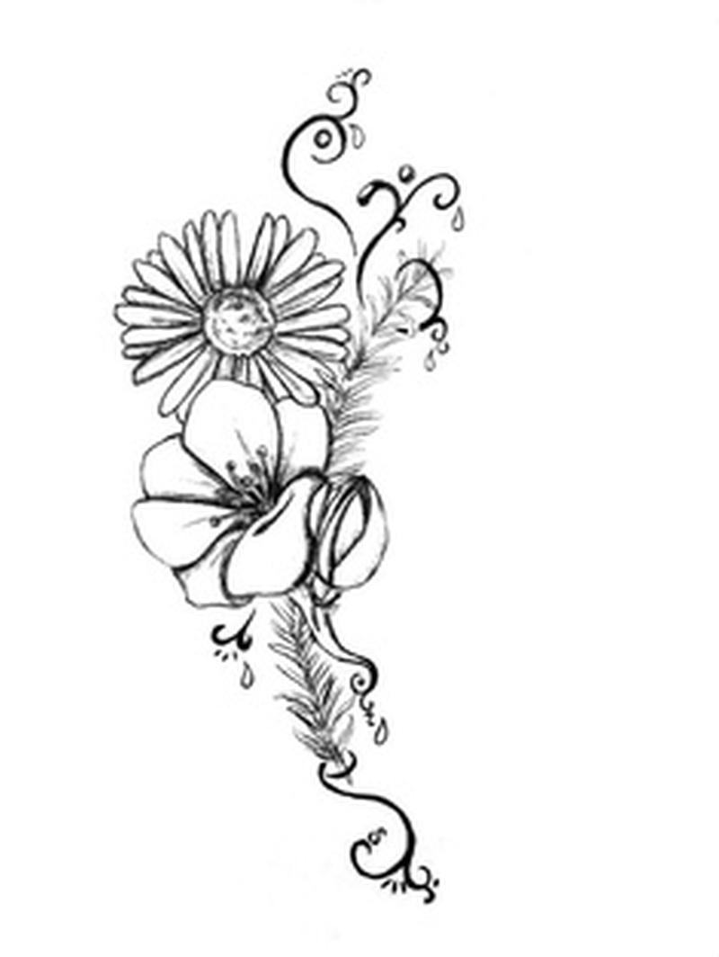 800x1064 Sweet Pea Flower Tattoo Black And White