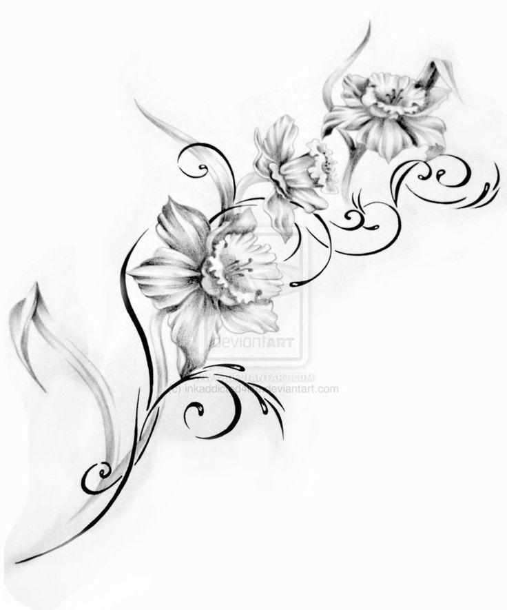 736x885 Sweet Pea Tattoo Black And White