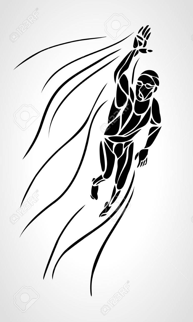780x1300 Freestyle Swimmer Black Silhouette. Sport Swimming, Front Crawl