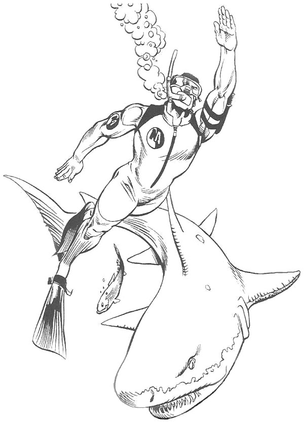 600x840 Action Man Swimming With Shark Coloring Page Action Man Coloring