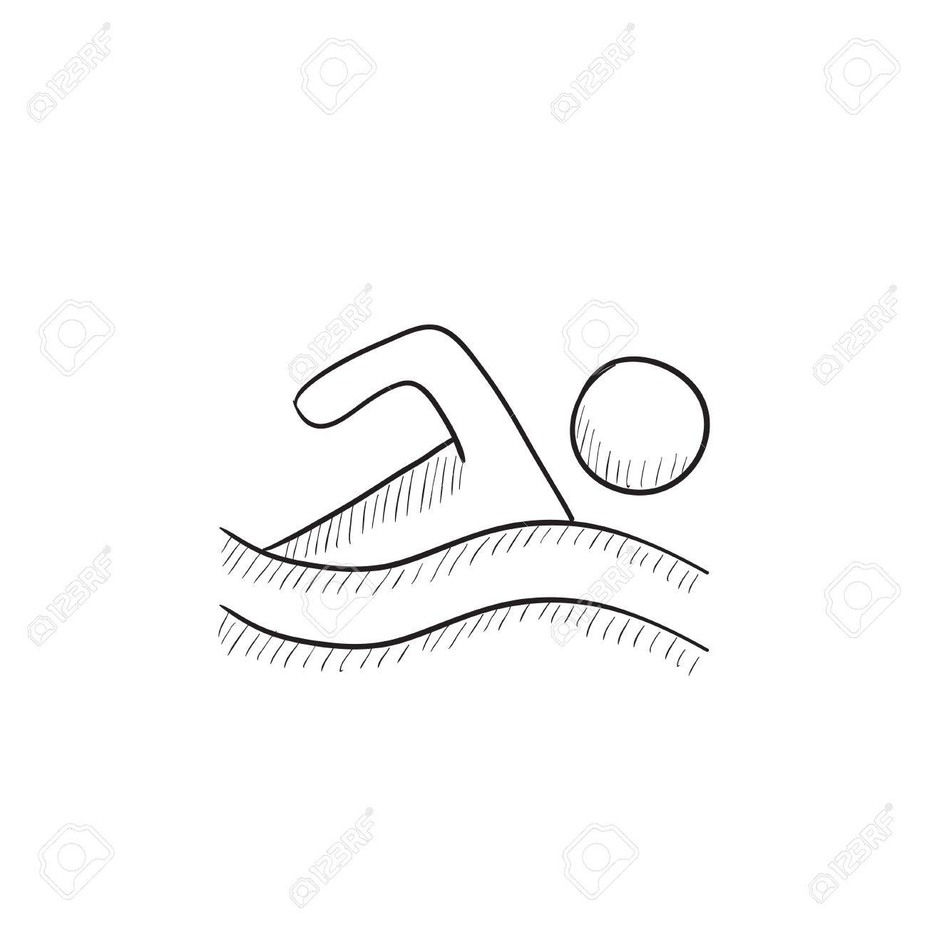 1300x1300 Swimmer Vector Sketch Icon Isolated On Background. Hand Drawn