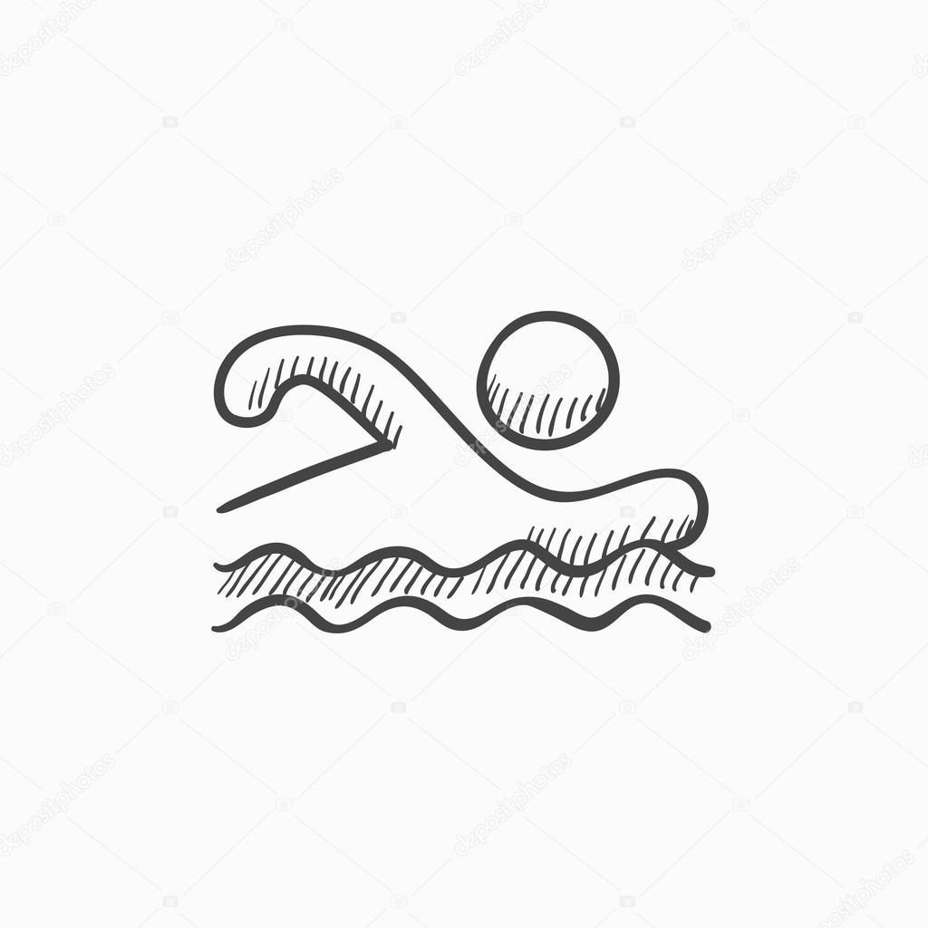 1024x1024 Swimmer Sketch Icon. Stock Vector Rastudio