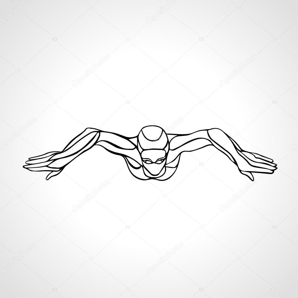 1024x1024 Breaststroke Swimmer Female Outline Silhouette. Sport Swimming