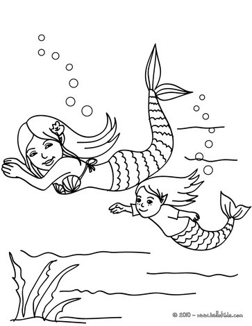 363x470 Mermaids Swimming Coloring Pages
