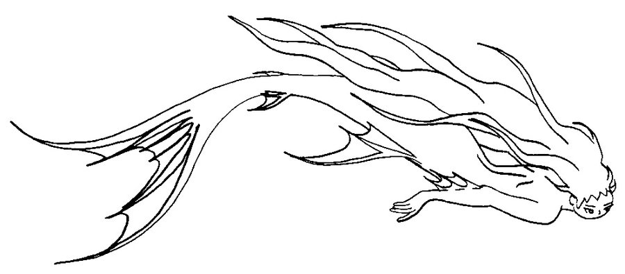 900x395 Merrowmermaid Swimming(Colorlesslack And White) By