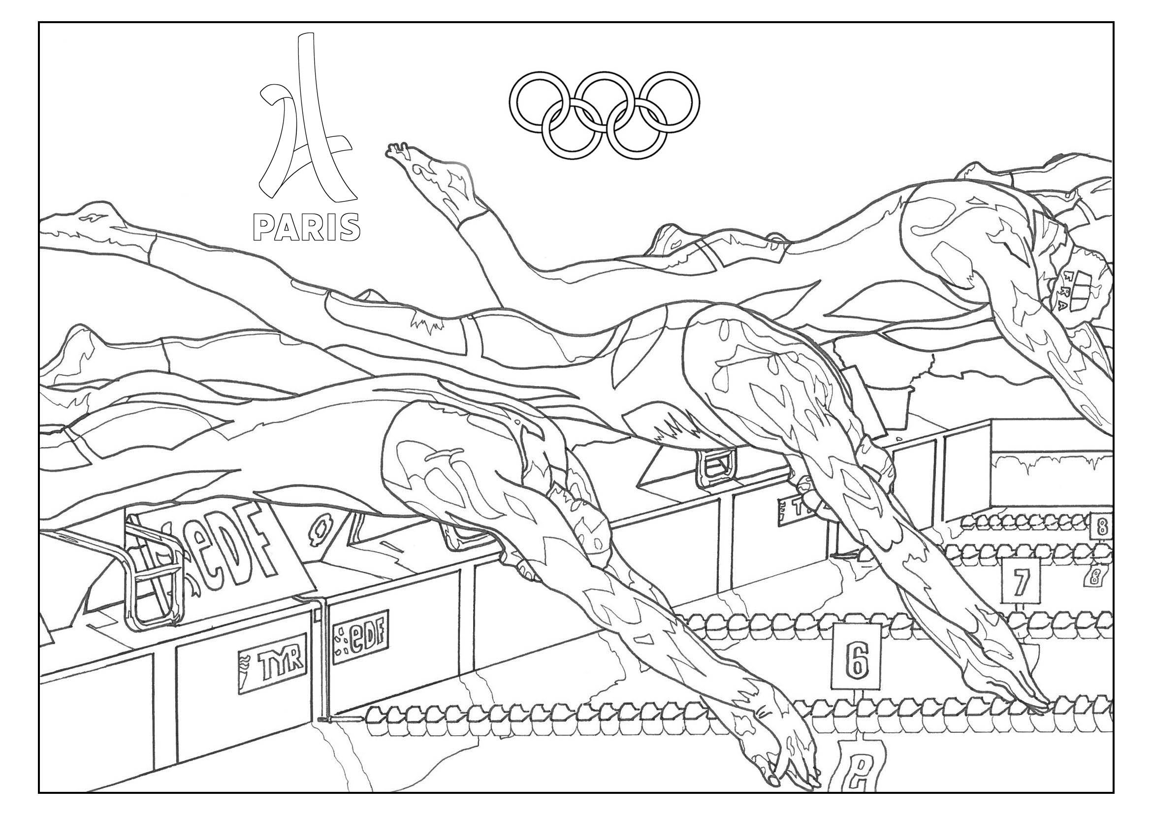 2340x1655 Olympic Games Swimming Paris 2024 Olympic (And Sport) Coloring