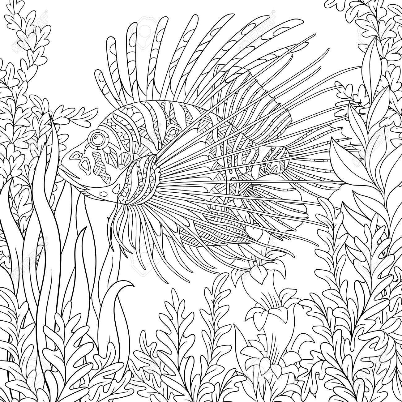 1300x1300 Stylized Cartoon Zebrafish (Lionfish,pterois Volitans) Is Swimming