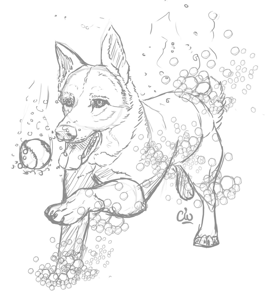 1024x1160 Swimming Dog Commission By Captainwyndsor