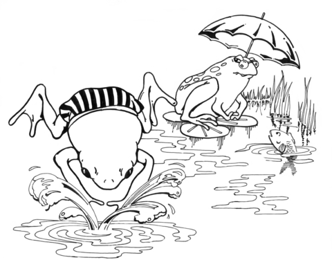 480x389 Cartoon Frogs Swimming Coloring Page Free Printable Coloring Pages