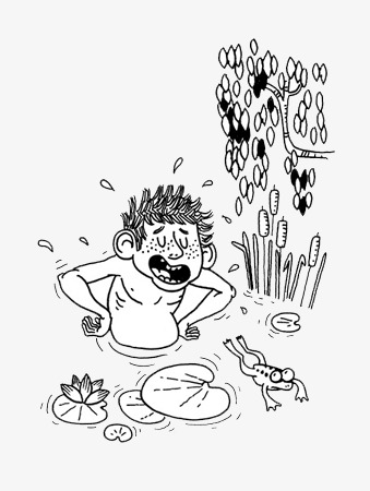 339x450 Sketch Boy Swimming, Sketch Boy, Boys Swimming, Catching Frogs Boy