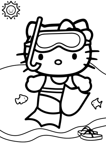 339x480 Hello Kitty Goes Swimming Coloring Page Free Printable Coloring