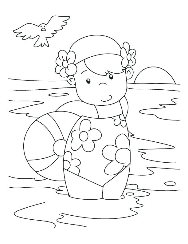 612x792 Barbie Bathing Suit Coloring Pages Pool Pics Of Kids Swimming