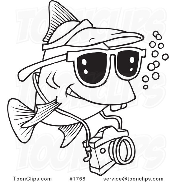 581x600 Cartoon Black And White Line Drawing Of A Fish Tourist Swimming