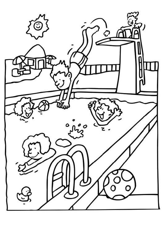 530x750 Coloring Page Swimming
