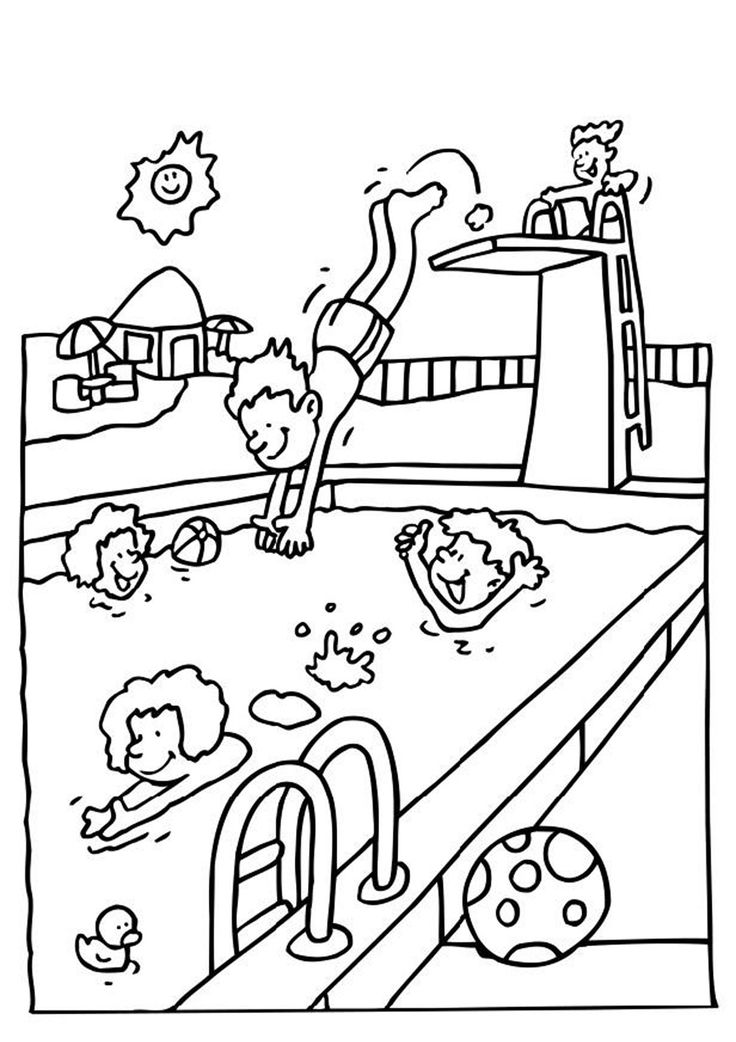 736x1042 Summer Pool Coloring Pages Download And Print For Free