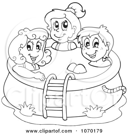450x470 Clipart Outlined Kids In A Swimming Pool