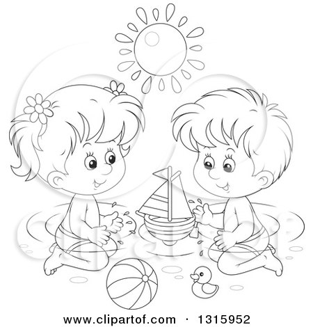 450x470 Outline Clipart Of A Cartoon Black And White Boy Girl Playing