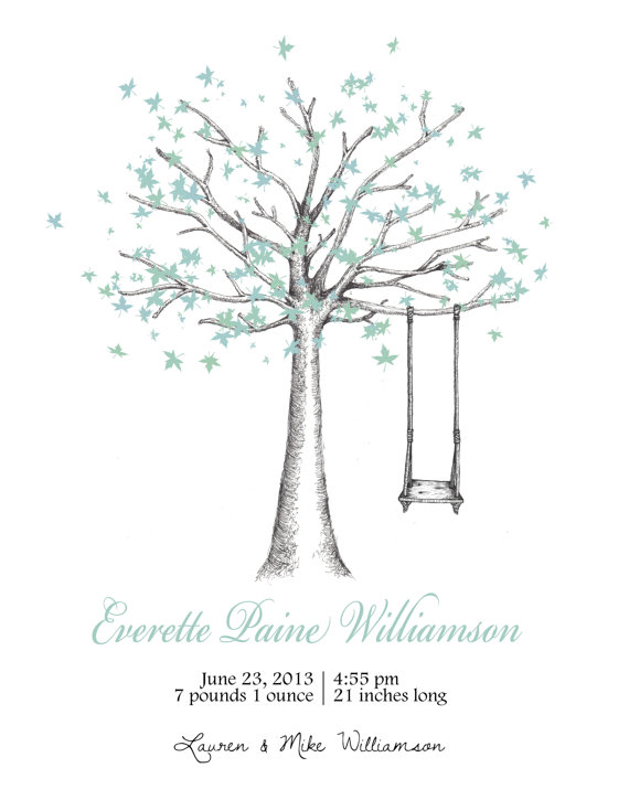 570x725 Birth Announcement Tree With Swing Amp Colorful By