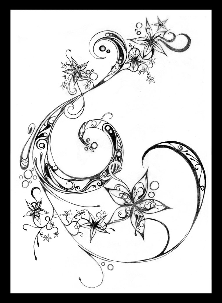 764x1046 Flowers And Swirls By ~fairyality On Filigree