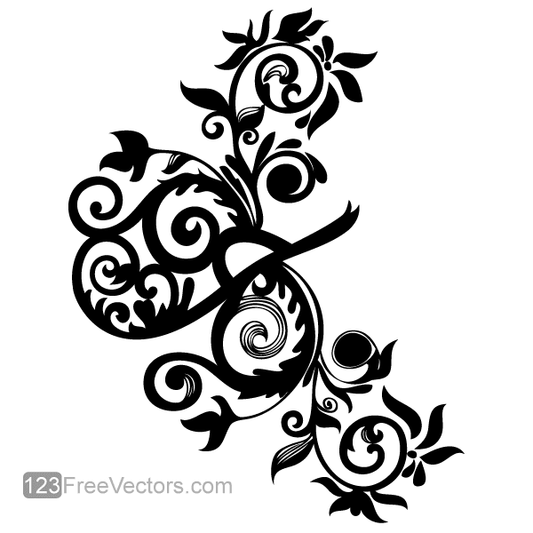 600x600 Hand Drawn Swirl Floral, Vector Images