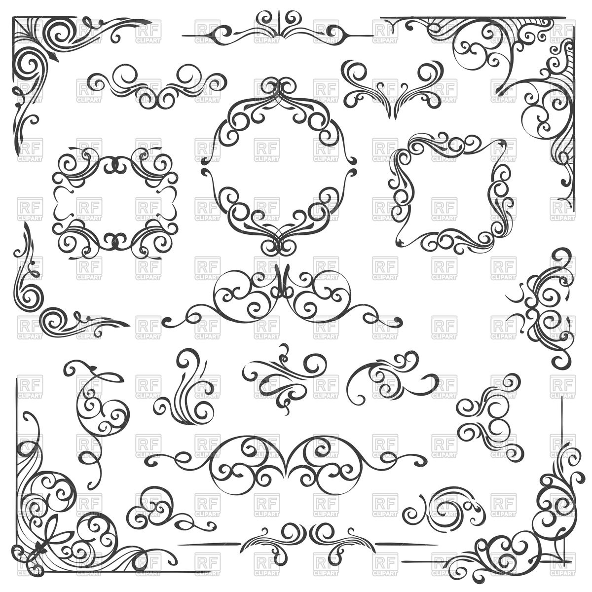 1200x1200 Set Of Hand Drawn Swirl Decor Elements Royalty Free Vector Clip