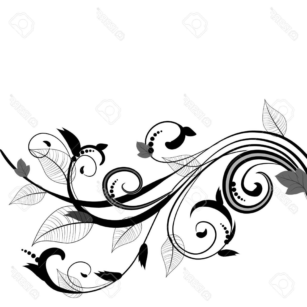 1300x1300 Top Leaf Pattern Stock Vector Swirl Floral Scroll Drawing
