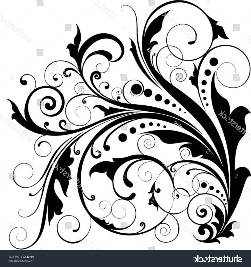1024x1092 Best Free Stock Vector Floral Leaf Dot Swirl Design Drawing