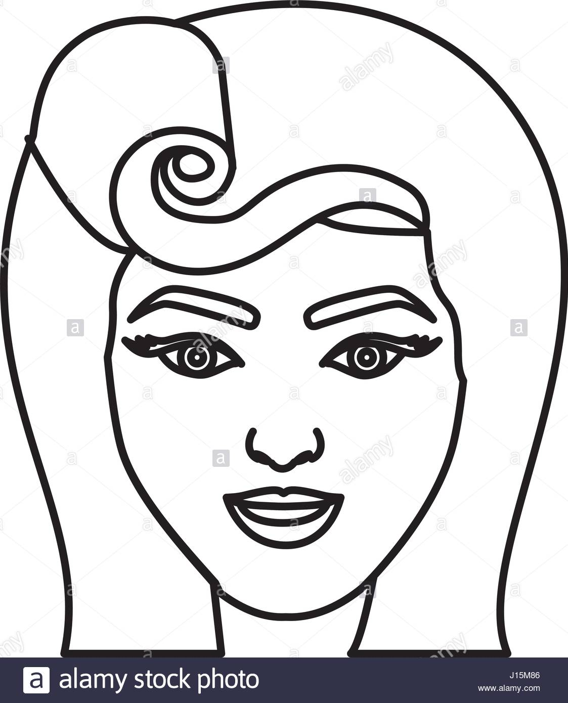 1123x1390 Silhouette Drawing Of Face Woman With Pin Up Swirl Hairstyle Stock